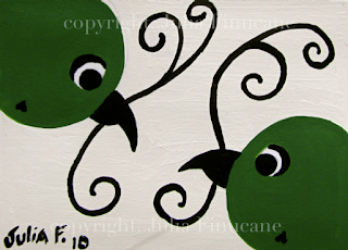 green birds with vine