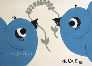 blue sparrow birds aceo
