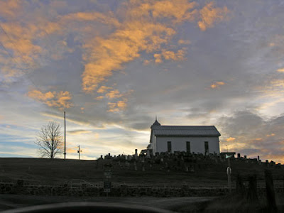 church at dusk