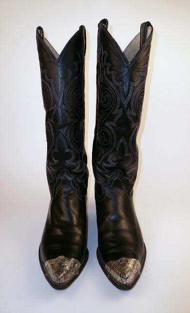 Valentine S Vintage Sold Tall Black Justin Cowboy Boots