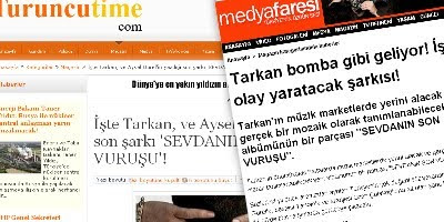 Celebrity portals pick up news of Tarkan's latest song