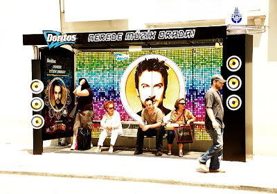 Doritos concert promos at bus stop in Istanbul