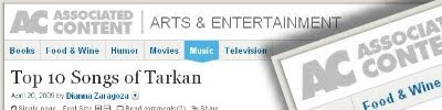 Top 10 Songs of Tarkan by Dianna Zaragoza @ Associated Content, 20 April, 2009
