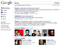 Screencap of Google search page results for Tarkan