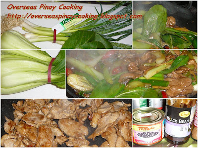 Stirfry Pork and Bok Choy with Black Bean Sauce - Cooking Procedure