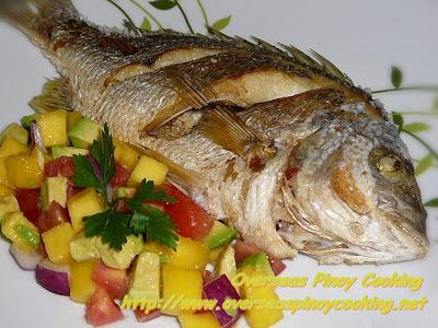Fried Fish with Pinoy Mango Avocado Salsa