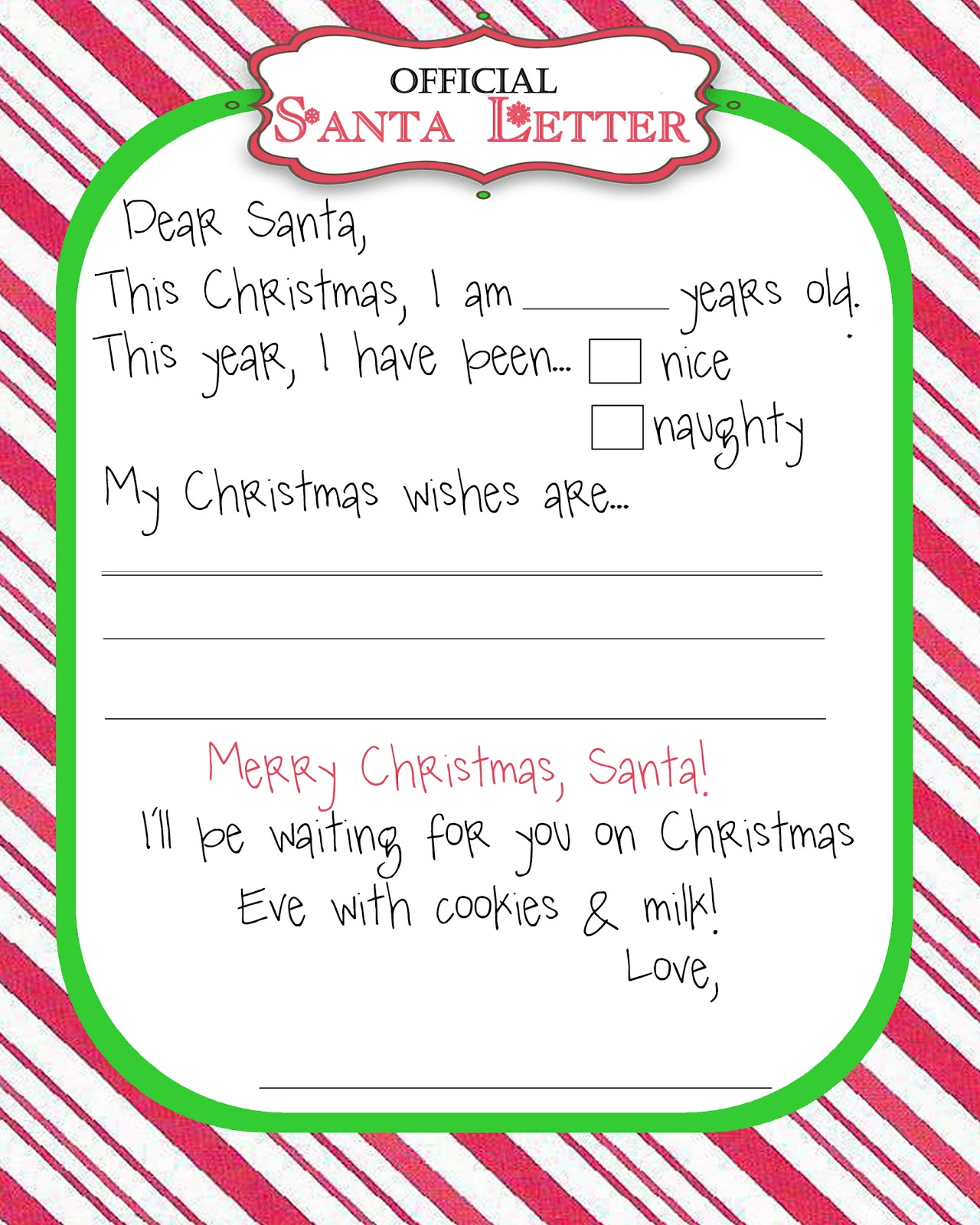 letter template from santa