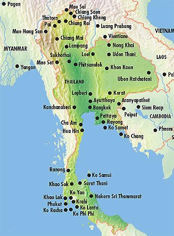Carte De La Thailande Avec Les Iles.Echappees Belles Asiatiques Thailande