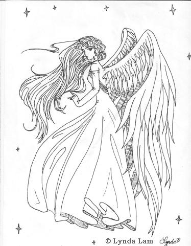 Anime Angel Wings Drawing Sketch Coloring Page