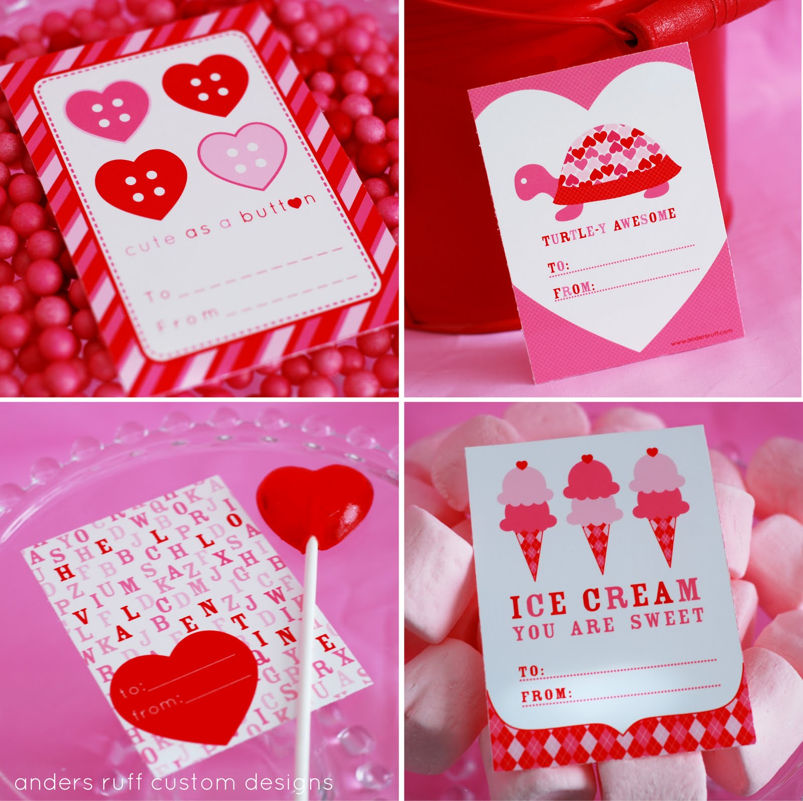 And Some Cute Cards From Andersruff. 1600 x 1596.Valentine's Printables Free