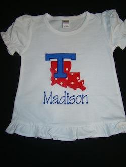 Same Monogram Little Girl Louisiana Tech Applique Shirt