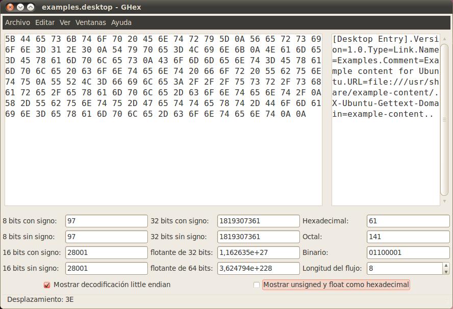 Apuntes para no olvidar    y compartir: GHex - Editor hexadecimal