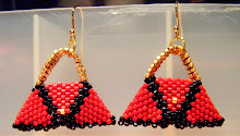 Red Black Purse Ear Rings