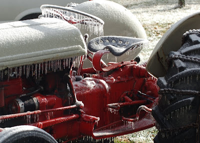 Tractor with icicles