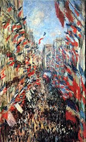 Cuadro titulado La Rue Montorgueil de París de Claude Monet (óleo sobre lienzo, 1878)