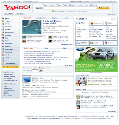 Screenshot of Yahoo front page