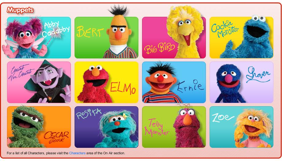 sesame street muppet characters