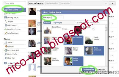Membuat daftar teman di Facebook