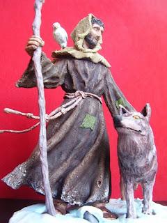 Orme Magiche Scultura San Francesco statuetta santo fatto a mano santi pastore statuine presepe artigianali personalizzate