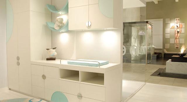 Dormitorio para bebe en turquesa verde y crema by karim Diseno de habitacion para bebe varon