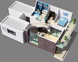 Planos 3d casa 3 dormitorios vivienda moderna planos de for Casa moderna 3 habitaciones