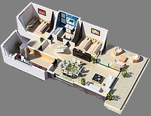 Planos 3d casa 3 dormitorios vivienda moderna planos de for Planos de casas en 3d gratis