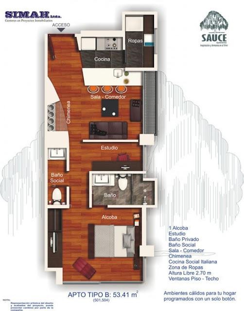 Planos de viviendas peque as con una sola habitacion for Distribucion apartamento 50 m2