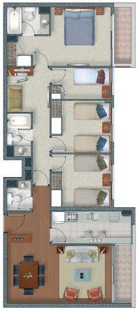 Plano de vivienda de 4 dormitorios en 92m2 planos de for Planos de departamentos de 40m2