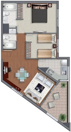 Planos de casas en 60m2 y 61m2 de 3 y 2 dormitorios for Departamentos minimalistas planos