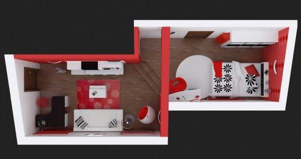 El dise o de dormitorio 3d es de una empresa en rumania - Decoracion blanco negro rojo ...