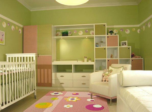 Dormitorio de bebe en verde manzana for Dormitorio verde agua