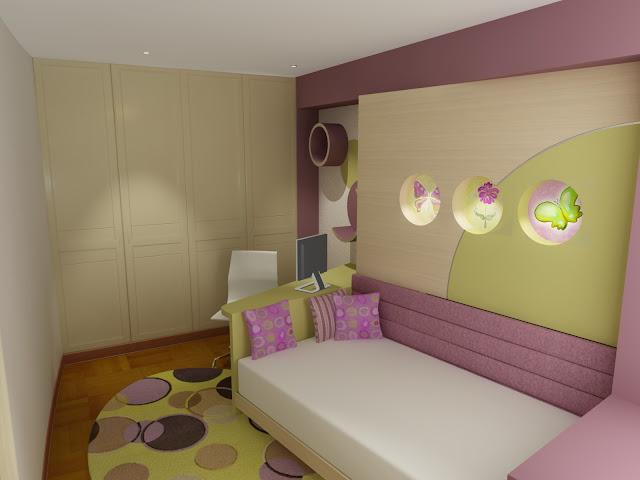 Dormitorio juvenil en rosa crema y verde manzana como - Como amueblar un dormitorio pequeno ...