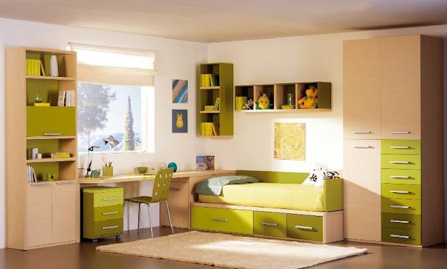 Dormitorio juvenil en madera y verde limon o verde manzana fresco e inspirador - Dormitorios juveniles madera ...