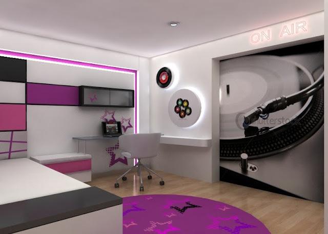 Dormitorio para ni as en colores blanco fucsia negro con for Cuartos de ninas fucsia