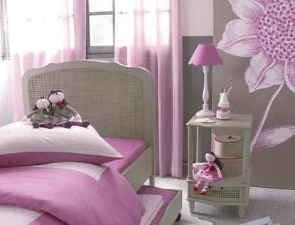 recamara juvenil para chicas en rosado y gris plomo o plata crema by. Black Bedroom Furniture Sets. Home Design Ideas