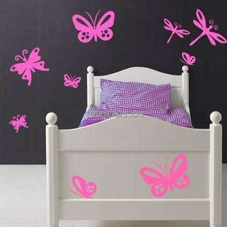 dormitorios para nias decorado con mariposas