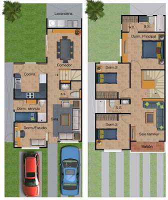 Plano de casa de dos pisos 132 metros cuadrados planos for Casa moderna 7x15