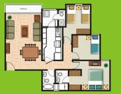 Planos de departamentos peque os de 70m2 a 80m2 planos for Planos de jardines pequenos
