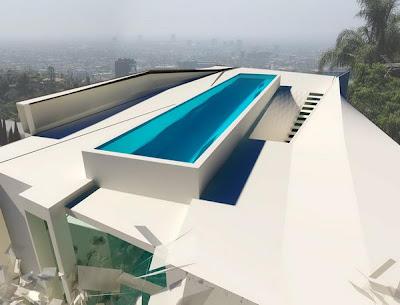 Fachada de casa minimalista con piscina en el ultimo piso for Casa minimalista con alberca