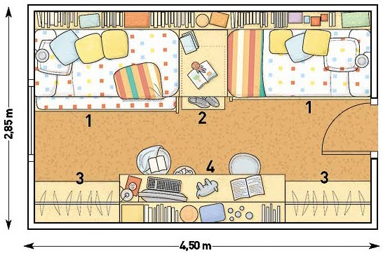 Plano de dormitorio - Planos de habitaciones juveniles ...