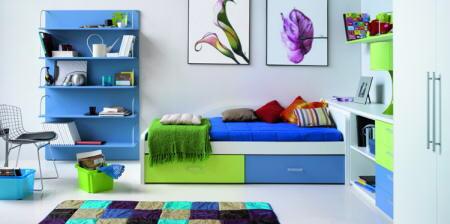 Dormitorio azul y verde decoracion de habitaciones frescas - Habitaciones infantiles verdes ...