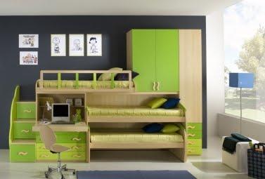 Dormitorio para 3 ni os y camas triples via dormitorios - Camas para dos hermanos ...