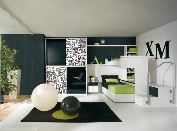 Dormitorio juvenil tipo loft en verde pistacho manzana for Amueblar dormitorio juvenil pequeno