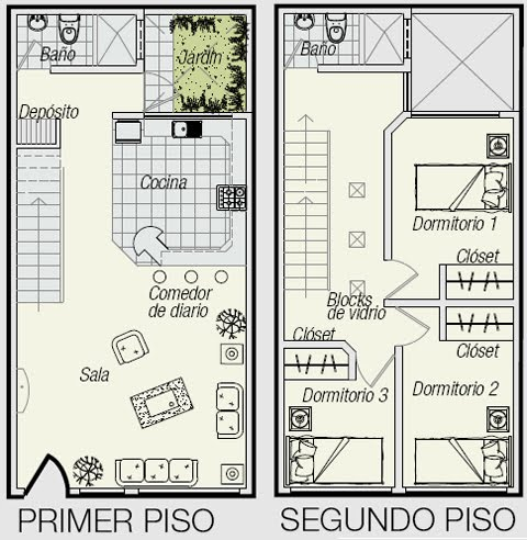 Planos de triplex planos de minidepartamento de 3 pisos en for Planos de casas 90m2