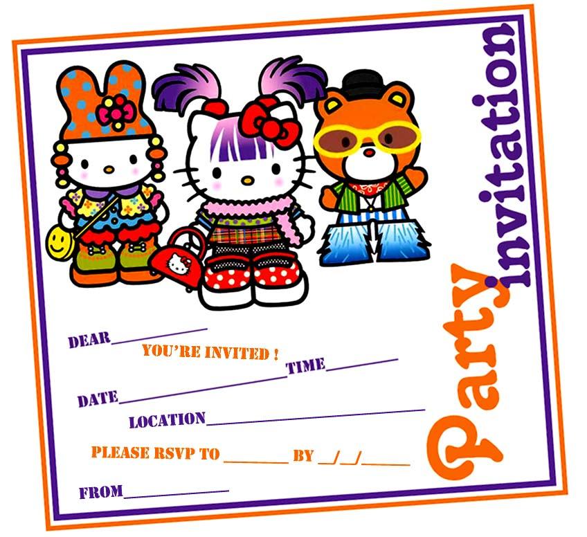 Hello kitty harajuku party invitations and thank you card.