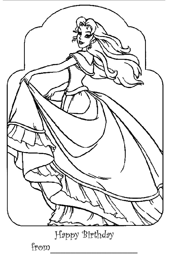 BARBIE COLORING PAGES: BARBIE HAPPY BIRTHDAY COLORING PAGE