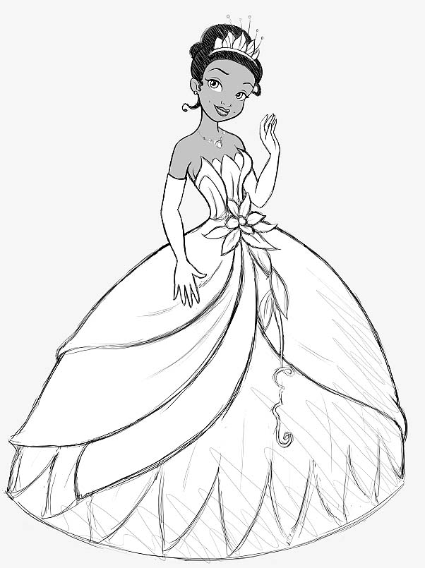 Disney princesses belle coloring pages for Coloring pages princess and the frog