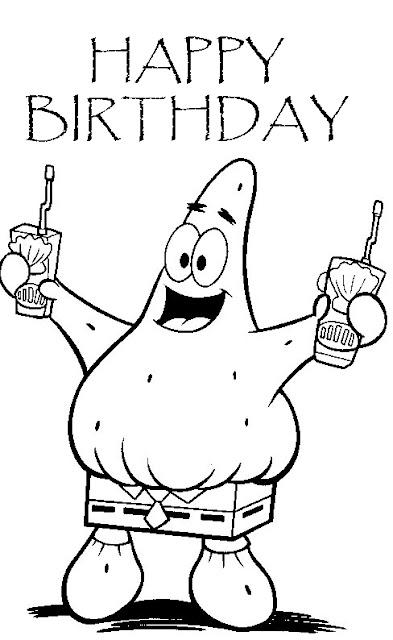 Happy Birthday Spongebob Coloring Pages Printable