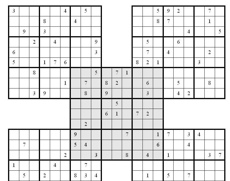 graphic about Printable Sudoku Samurai named Abnormal Sudoku Printable