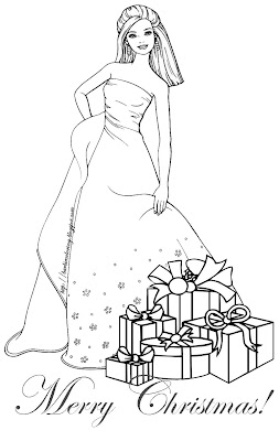 BARBIE COLORING PAGES: BARBIE CHRISTMAS COLORING PAGE
